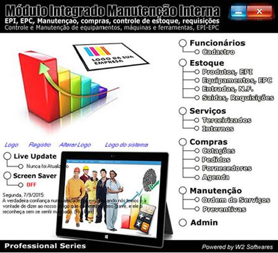 Software controle de EPI manutenção compras biometria